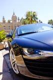 Luxury sports-car in monaco near monte carlo casino royalty free stock photo