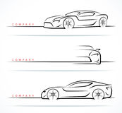 Luxury sports car silhouettes set. Front, perspective and side view. Vector illustration Stock Images