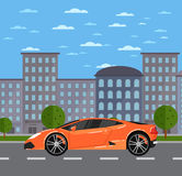 Luxury sports car in urban landscape Royalty Free Stock Image