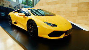 Luxury sports car. Luxury yellow new sports car