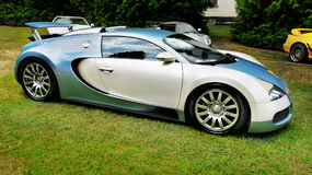 Luxury Sports Cars. White-blue  Bugatti Veyron. Luxury sports cars Stock Image