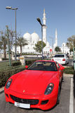 Luxury sportscar in Abu Dhabi. Luxury sportscar parked at the Sheikh Zayed Mosque in Abu Dhabi, United Arab Emirates. Photo taken at 14th of January 2012 Stock Image