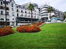 Luxury square in front of Montecarlo casino stock photo