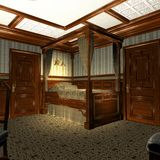 Luxury Stateroom On A Old Luxury Ship. 3D Render of an Luxury Stateroom on a old Luxury Ship Stock Photo