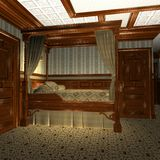 Luxury Stateroom On A Old Luxury Ship. 3D Render of an Luxury Stateroom on a old Luxury Ship Stock Photography