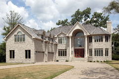 Luxury stone home with colums Royalty Free Stock Photography