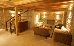 Luxury stone villa interior Royalty Free Stock Image