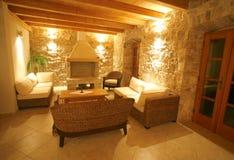 Luxury stone villa interior Stock Photos