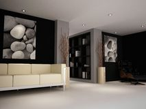 A luxury study lounge room. A modern classic reading chair and sofa in a study lounge painted black and grey royalty free stock photography