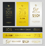 Luxury style banners: dark, gold and silver Royalty Free Stock Image