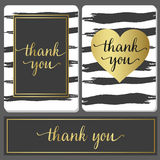 Luxury style design cards with black brushstroke and gold sign Stock Images