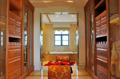 Luxury style dressing and bathroom Stock Images