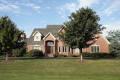 Luxury suburban brick home Royalty Free Stock Photo