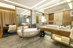 Luxury suite 5 star bedroom with attached bathroom Royalty Free Stock Photography