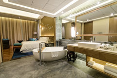 Luxury suite 5 star bedroom and ensuite bathroom Royalty Free Stock Images