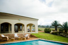 Luxury summer villa with swimming pool Royalty Free Stock Images