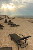 Luxury sun chairs. On the beach Royalty Free Stock Images