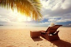 Luxury sunbeds on the beach stock photography