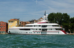 Luxury super yacht Forever One, Venice. VENICE, ITALY - JUNE 10, 2017:  The luxury super yact Forever One moored in the Arsenale district of Venice on a sunny Stock Photos