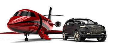 Luxury SUV with a private jet. 3d render image representing an luxury SUV with  a private jet plane Stock Photography