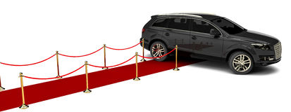 Luxury SUV and a red carpet Stock Photos