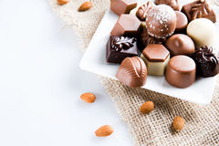 Luxury sweet chocolate pralines Royalty Free Stock Images