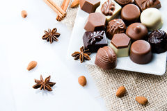 Luxury sweet chocolate pralines Royalty Free Stock Photo