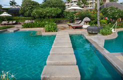 Luxury swimming pool royalty free stock photo