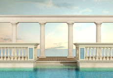 Luxury swimming pool with balustrade and colonnade Royalty Free Stock Image
