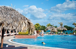 Luxury swimming pool by beach hotel in Cuba Stock Photo