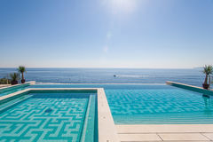 Luxury swimming pool and blue water Royalty Free Stock Photos