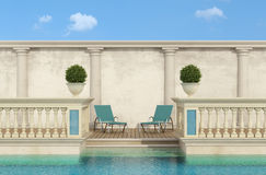 Luxury swimming pool with classic balustrade Stock Photos