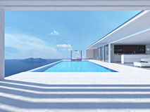 Luxury swimming pool. 3d rendering. Luxury swimming pool in summer. 3d rendering royalty free stock image