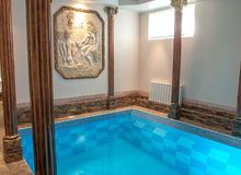 Luxury swimming pool in hotel. Big and luxury swimming pool in hotel Royalty Free Stock Image