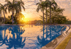 Luxury swimming pool in morning Royalty Free Stock Photos