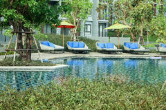 Luxury Swimming pool and relax zone Royalty Free Stock Photos