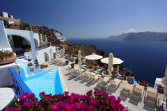 Luxury swimming pool in Santorini Royalty Free Stock Image