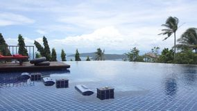Luxury Swimming Pool with Sea View. Shot with a Sony a6300 fps29,97 4k stock footage