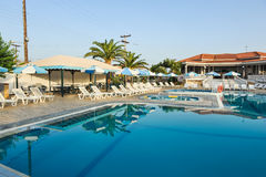 Luxury swimming pool in the tropical hotel in Greece Stock Photography