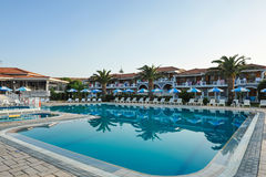 Luxury swimming pool in the tropical hotel in Greece Stock Photo