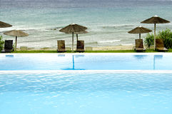 Luxury swimming pool with view Stock Images