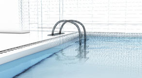 Luxury swimming pool with wire-frame Royalty Free Stock Photography