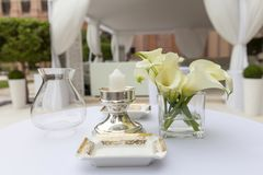 Luxury table arrangement for a dinner. Fine dining concept Stock Photos