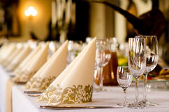 Luxury table set. Including napkins, cutlery and wine glasses stock photo
