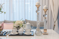 Luxury table set on dinnig table in dining room Royalty Free Stock Photography
