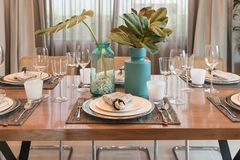 Luxury table set on wooden dining table Stock Photography