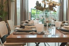 Luxury table set on wooden dining table Stock Image