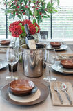 Luxury table set on wooden dinning table Royalty Free Stock Image
