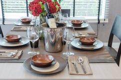 Luxury table set on wooden dinning table Stock Photo