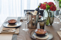 Luxury table set on wooden dinning table Royalty Free Stock Photo